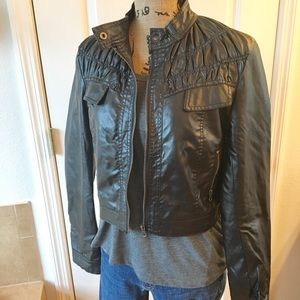 Ali & Kris Black Leather Jacket Women's Size Large